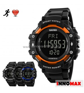 SKMEI Sports Watch 1180 - Heart Rate Pedometer Stop Watch Water Resistant 50m