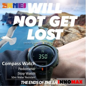 SKMEI Compass Watch 1231 - Compass World Time Stop Watch Water Resistant 50m