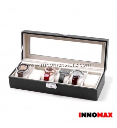 Watch Box Display Case Organizer - 6 Grid PU Leather
