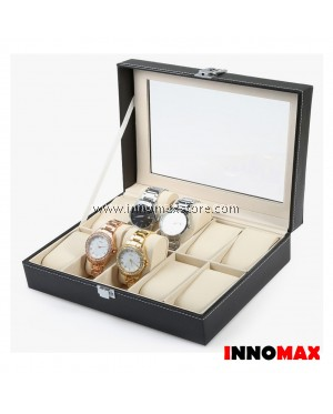 Watch Box Display Case Organizer - 10 Grid PU Leather