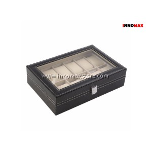 Watch Box Display Case Organizer - 12 Grid PU Leather