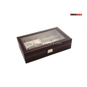 Watch Box Display Case Organizer - 6 Grid Watch 3 Grid Glasses