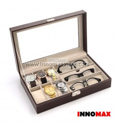 Watch Box Display Case Organizer - 6 Grid Watch 3 Grid Glasses