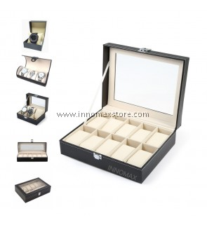Watch Box Display Case Organizer - PU Leather Glass - Multiple Sizes