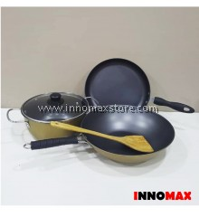 Non stick Pots and Pans 4pcs Set - Free Spatula