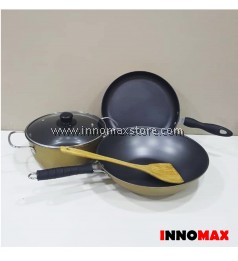 Non stick Pots and Pans 4pcs Set with Spatula