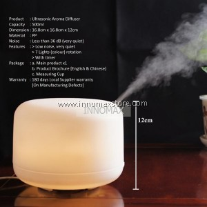 Ultrasonic Aroma Diffuser 7 Changing LED Colour 500ml