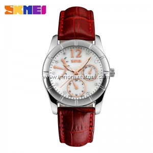 SKMEI Fashion Women Quartz Watch 6911 Leather Strap