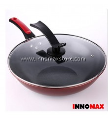 Non stick Frying Wok with Glass Cover Lid and Spatula