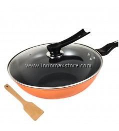 Non stick Frying Wok Pan with Glass Cover Lid and Spatula