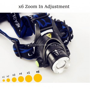 CREE LED Rechargeable Headlight 6x Zoom Bright Light