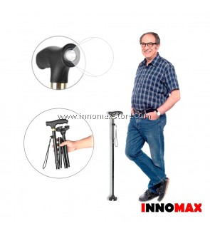 Folding Walking Stick Torch Light Adjustable Height Extra Wide Base