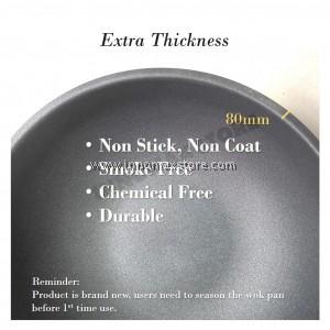 Non-Stick Cast Iron Wok Pan Chemical Free 32cm Pre-Seasoned
