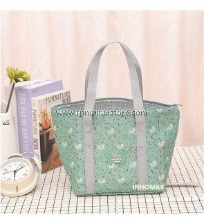 Graphic Zipper Foldable Lunch Box Carry Bag Cooler Thermal Bag