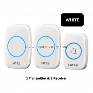 CACAZI Wireless Door Bell 2 Receiver 1 Transmitter 60 Ringtones 300m Connectivity