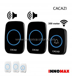 CACAZI Wireless Door Bell 2 Receiver 1 Transmitter 60 Ringtones 300m Connectivity