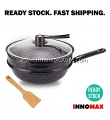 2in1 Multi Purpose Non Stick Cooking Wok Stir Fry Steam MaiFan Coat with Pressure Glass Lid