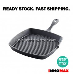 Cast Iron Grill Pan Chemical Free Durable 24cm BBQ Pan