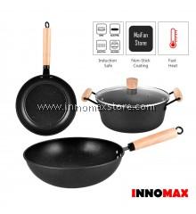 NonStick Cookware Set Pans & Pot - Deep Fry Pan/FryPan/Cooking Pot/Borosilicate Glass Lid (4 Pcs)