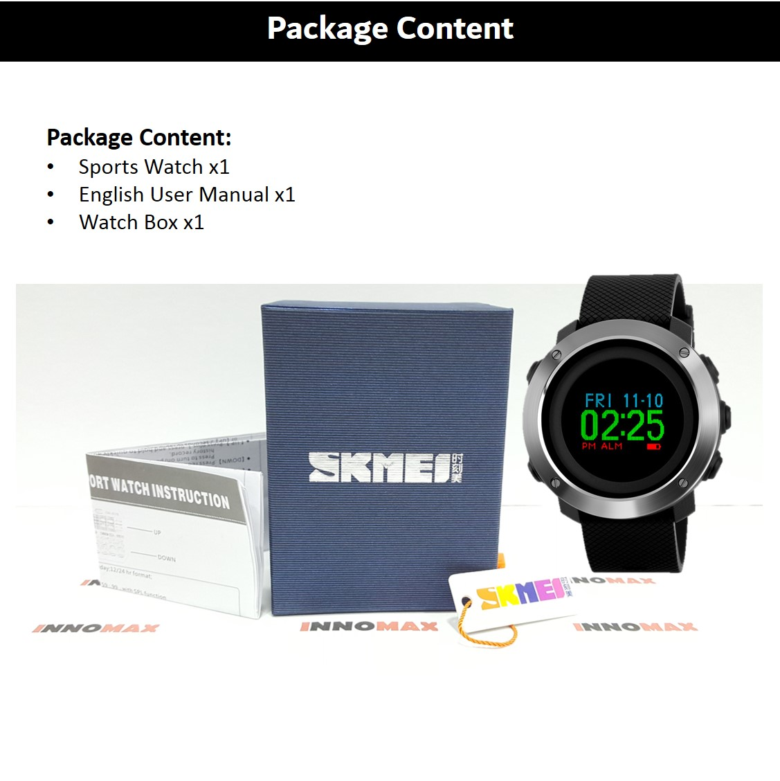 SKMEI Sports Watch 1336 - LED Display - Pedometer Stop Watch Water Res